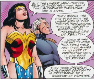 The Linear Men are wrong - from The Kingdom #2 by Mark Waid, John Zeck and Mike Beatty