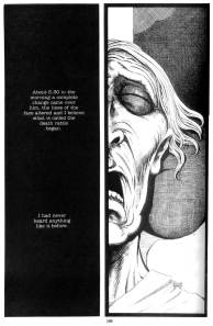 The death rattle, from Melmoth. Art by Dave Sim (figure) and Gerhard (background)