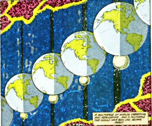 Panel from page 1 of Crisis On Infinite Earths 1. Written by Marv Wolfman, drawn by George Perez & Dick Giordano.