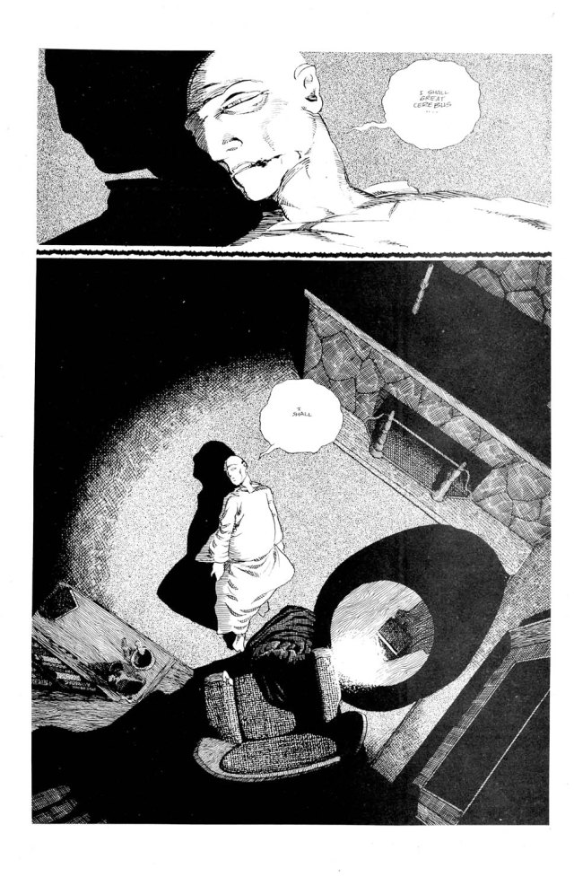 Not only a great scene, this also prefigures the appearance of Oscar Wilde in later stories, and even Cerebus' own death. From Church & State