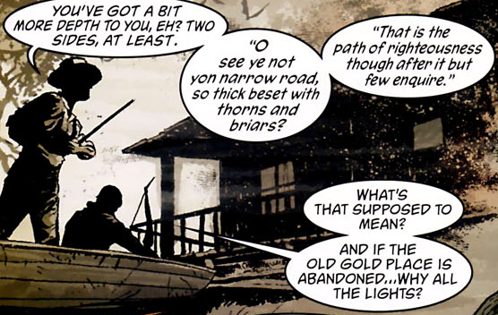 "Panel from Seven Soldiers Zero, quoting the poem ""Thomas The Rhymer"""