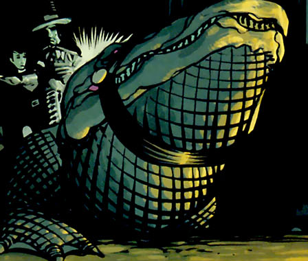 Klarion and Ebeneezer ride a giant alligator through the sewers of New York, in Klarion #2