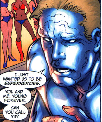 "Panel from Bulleteer. Lance, covered in superskin, says ""I just wanted us to be superheroes. You and me, young forever. Can you call 911?"""