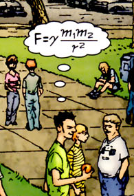 Detail from Frankenstein comic, showing someone thinking of Newton's equation for gravitational attraction