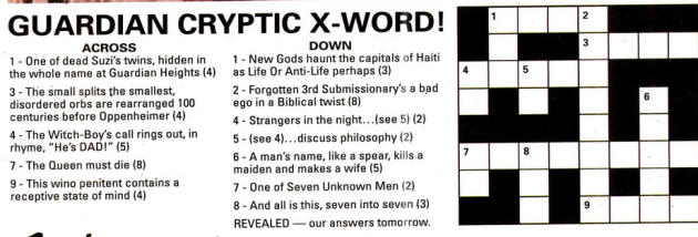 Crossword, the answers to which give away many otherwise obscure plot points in Seven Soldiers