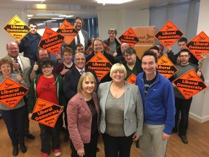 Lib Dem members at Jackie Pearcey's selection. In front are mayoral candidate Jane Brophy, Jackie, and councillor John Leech. I'm the one with the beard. No, not that one. Or that one. Or that one.
