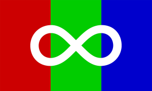 the autism pride flag -- a white infinity sign on a background of vertical red, green, and blue stripes