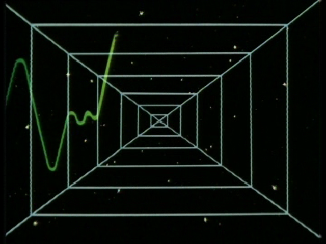"""A green wavy graph-like line, over several squares, over a star field. Early 80s """"space"""" graphics"""