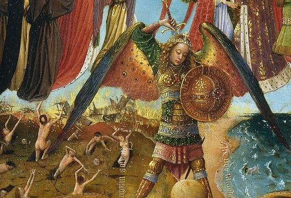Detail from Jan Van Eyck's portrayal of the Last Judgement, showing the Archangel Michael with peacock wings, as naked sinners run.