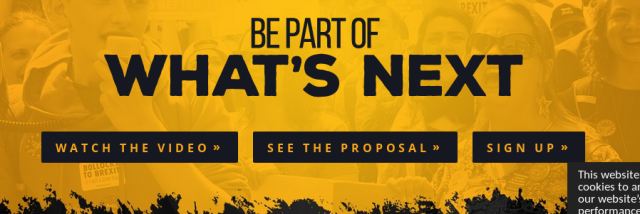 "Screenshot of a website saying ""Be part of what's next: Watch the video, see the proposal, sign up"""